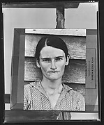 "[Copy of Print of ""Alabama Cotton Tenant Farmer Wife"" (Allie Mae Burroughs) Mounted on Makeshift Easel]"
