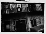 [Shuttered House Façade with Women on Balconies in French Quarter, New Orleans, Louisiana]