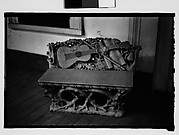 [Bench with Relief Carving of Musical Instruments, Louisiana]