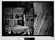 [Bedroom Interior with Newspaper-Covered Walls and Door, Hale County?, Alabama]