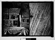 [Bedroom Interior with Newspaper-Covered Walls and Fireplace, Hale County?, Alabama]
