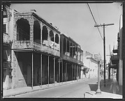 [View of Street with Cast-Iron Balconied Houses, New Orleans, Louisiana]