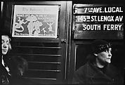 """[Subway Passenger, New York City: Woman in Hat Beneath """"7th Ave Local"""" Sign]"""