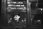 "[Subway Passenger, New York City: Woman in Hat Beneath ""7th Ave Local"" Sign]"