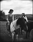 [Jill Fuller and Susanna Coward on Horseback, Bedford, New York]