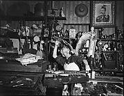 [Junk Shop Owner with Parrot on Shoulder, Williamsburg, Brooklyn]