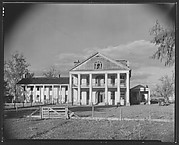 [Dilapidated Greek Revival Plantation House with Broken Windows in Gable, Louisiana?]