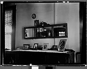 [Three Panel Mirror above Sideboard with Framed Photographs, Estate of Suzette Morton Hamill, Lake Forest, Illinois?]