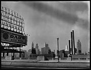 [Skyline and Highway Billboard for Dad's Root Beer, From Bridge, Chicago, Illinois]