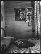 [Bedroom Interior with Religious Pictures on Wall, Shrimp Fisherman's House, Biloxi, Mississippi]
