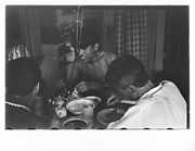 [Three Men Eating at Kitchen Table, Possibly New York City]