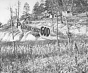 "[""Prepare to Meet God"" Arrow-Shaped Sign in Cornfield, Williamson, West Virginia]"