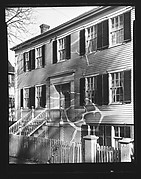 [Clapboard House with Raised, Trellised Entry Porch]