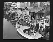 [Shingled Houses and Docked Boat on Waterway, Possibly Canarsie, Brooklyn, New York]