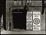 [Entrance to Rifle Range, with Bulls' Eye Signs]