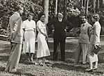 [Heinz Riefenstahl, Dr. Ebersberg, Leni Riefenstahl, Adolf Hitler, Josef Goebbels, and  Ilse Riefenstahl (Wife of Heinz) Visiting Leni Riefenstahl's New Villa in Dahlem, Berlin]