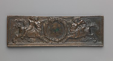 Front panel of a writing box (decorated with centaurs and nymphs)