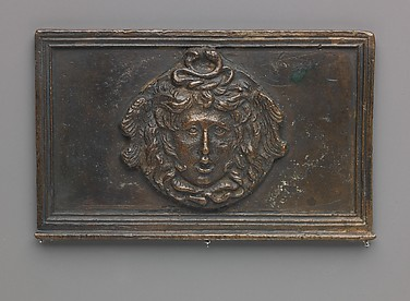 Side panel of a writing box (decorated with Medusa mask)