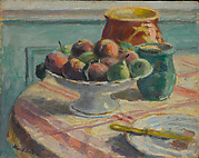 Compote of Peaches and Pears, with Pitchers, on a Table