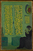 The Green Interior (Figure Seated by a Curtained Window)