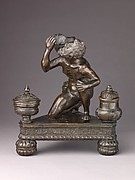 Inkwell in the Form of Atlas Holding a Globe