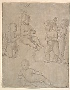 Five Nude Infants in Various Poses