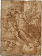 Jupiter and Io (recto); sketch of a male figure stabbing himself in the chest (verso)