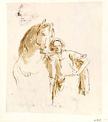 Man Leaning against a Horse