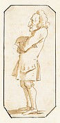 Caricature of a Man with His Arms Folded, Standing in Profile to the Left