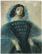 Young Woman in a Blue and Black Dress