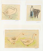 Three Sketches-Two Geese Walking; Peasant Woman with a Cow; Goose Hiding its Head