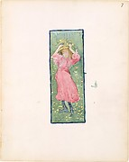 7r. A girl holding her hat; 7v. Blank