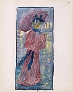 Large Boston Public Garden Sketchbook: A woman walking in the rain under an umbrella