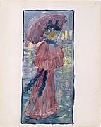 8r. A woman walking in the rain under an umbrella 8v. A woman drinking tea