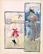 Large Boston Public Garden Sketchbook:  A young girl and a woman gazing out to sea