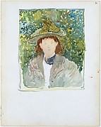 Large Boston Public Garden Sketchbook: A woman with red hair wearing a green plumed hat.