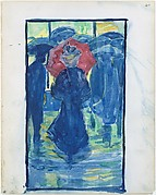 40r. Night scene with figures carrying umbrellas; 40v. A woman walking with a parasol