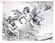 Cupid Blindfolded, on a  Cloud Supported by Two Attendant Putti