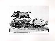 A Boar, Galloping to the Left, and a Sleeping Sow (on the Base)