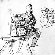 A Hawker Showing an Animal in a Cage to a Woman and Her Child
