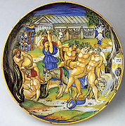 Armorial Plate: Silenus on an ass, supported by Bacchic revelers