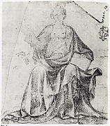 Seated Female Figure Holding a Book and a Scroll (?)