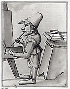 Caricature of  a Dwarf Painter at His Easel