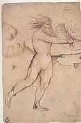 Bearded Nude Male Figure Running Toward the Right