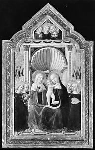 Saint Anne and the Virgin and Child Enthroned with Angels