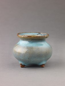 Miniature incense burner, Jun ware