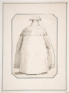 Caricature of a Fat Person Wearing a Long Cloak and a Tricorne, Seen from Behind