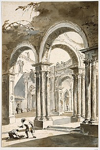A Colonnade, Partly Ruined, with Figures