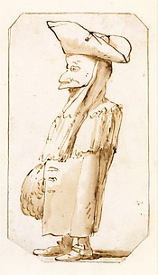 Caricature of a Man in a Mask and a Tricorne, Standing in Profile to the Left