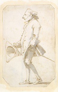 Caricature of a Man Holding a Tricorne, Walking to the Left